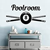 SLQUIET Sala de billar pegatinas de pared pegatinas calcomanías pegatinas decoración del hogar sala de estar dormitorio decoración mural cartel plata 43x86cm