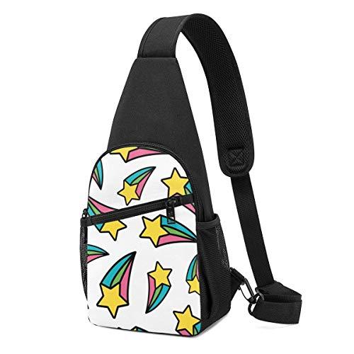 DJNGN Paquete de pecho para hombre Rainbow Shooting Star Pastel Repeat Fun Cute Background Bolso bandolera ligero con correa ajustable para el hombro para ir de compras Senderismo Deportes al aire lib