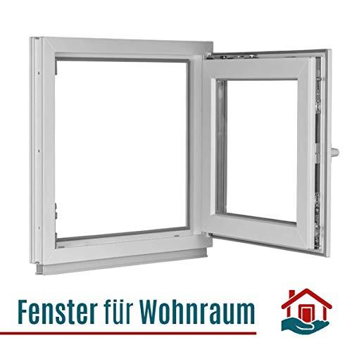 Kunststoff wei/ß 60 mm Profil 1000 x 500 mm BxH: 100 x 50 cm DIN Links 3 fach Verglasung Kellerfenster Fenster