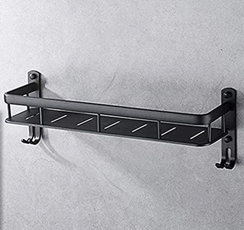 QOHG Black Toally Rack Baño Espacio de baño Aluminio, Punch-Punch-Free Rack Vintage Tocador Estante de Almacenamiento