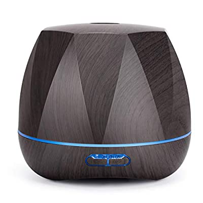 Homeweeks Diffuser, Diffuser for Essential Oils 500ml Colorful Wood Gain, Aroma Essential Oil Diffuser with Adjustable Mist Mode, Auto Off Ultrasonic Diffuser for Home Office?Lasting 8-10/h?