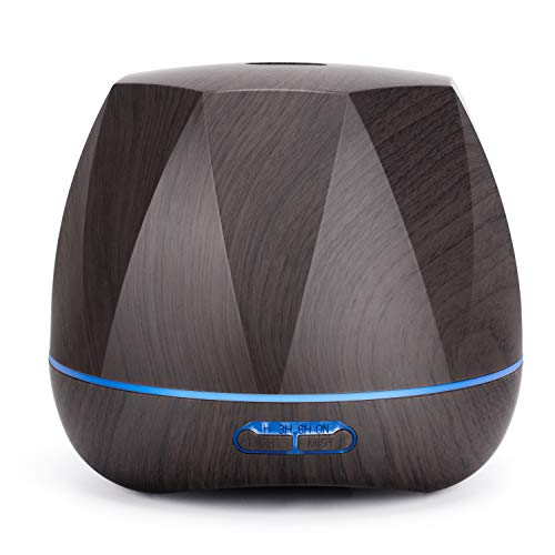 Homeweeks Diffuser, Diffuser for Essential Oils 500ml Colorful Wood Gain, Aroma Essential Oil Diffuser with Adjustable Mist Mode, Auto Off Ultrasonic Diffuser for Home Office(Lasting 8-10/h)