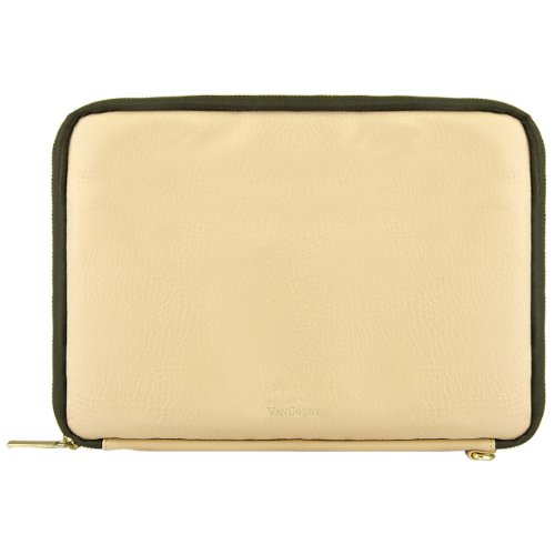 VanGoddy Tan Olive 10-inch Tablet Sleeve Case Compatible with iRULU eXpro 3 Plus Tablet X3 Plus, Walknbook W1 W2 10.1'