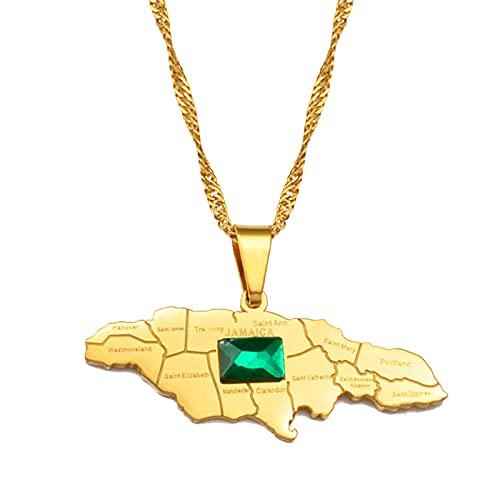Mapa De Jamaica Con Collares Con Colgante De Piedra Verde Para Mujeres Y Niñas, Joyería Jamaicana De Color Dorado