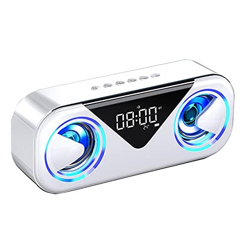 DJXLMN Altavoz Bluetooth con Luces Subwoofer inalámbrico Efecto de Sonido de Alta fidelidad Envolvente 3D, Reloj Despertador Dual, Pantalla de Temperatura,Blanco