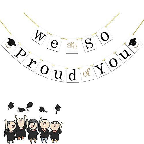 Feelairy Glückwunsch Abschluss Deko We Are So Proud of You Girlande mit Abschluss Hut Graduierung Wimpelkette Banner, Foto-Requisit für Graduierung 2020 Graduation Partydeko (Weiß)
