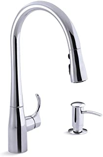 Kohler K-R596-SD-CP Simplice High-Arch, Single Handle, Pull-Down Sprayer Faucet, Polished Chrome w/ 3-function Sprayer, Sweep Spray and Docking Spray Head Tech. Includes Soap Dispenser K-1893-C-CP