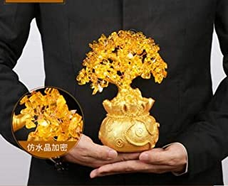 DAVITU 1PC Lucky Tree Wealth Pretty Citrine Yellow Crystal Gem Tree Golden A064 Natural Stones and Minerals Natural Crystal Piggy Bank - (Color: 23cmX11cm)