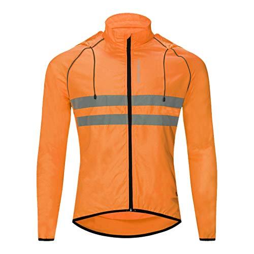 Generic Veste de Cyclisme à Capuche Thermique,Vêtements Long Manches Imperméable avec Bande Réfléchissante pour Homme Femme - orange 1, L