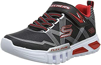 Skechers boys S Lights: Flex-Glow , Black Black Textile Synthetic Silver Red Trim Bksl , 30