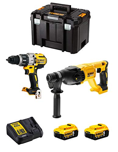 DeWALT Kit DWK222 (Taladro Percutor DCD996 + Martillo Perforador DCH133 + 2 Baterías de 5,0 Ah + Cargador + TSTAK VI)