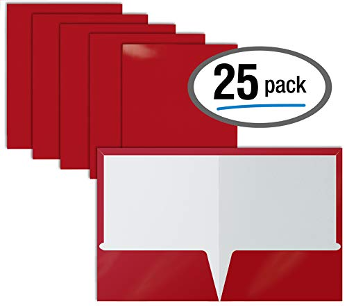 2 Pocket Glossy Laminated RED Paper Folders, Letter Size, Red Paper Portfolios by Better Office Products, Box of 25 Red Folders