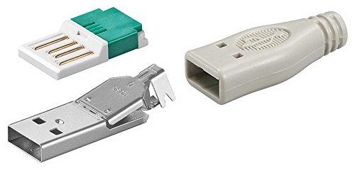USB A-Stecker zur werkzeugfreien Crimp-Montage inkl. Tülle