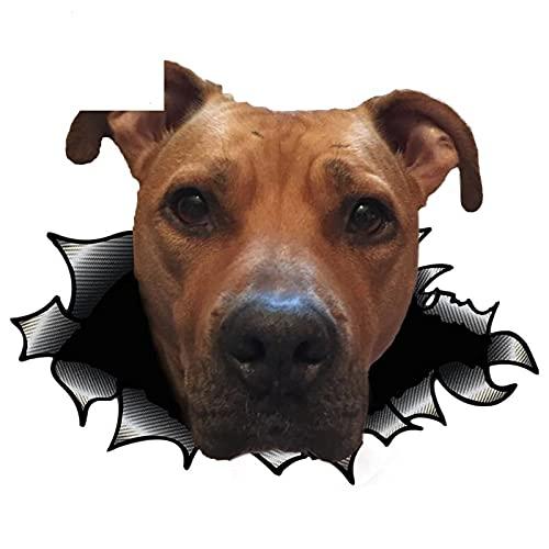 A/X 13cmx10.5cm Etiqueta engomada del Coche 3D American Staffordshire Terrier Etiqueta de Metal Rasgada Car Styling
