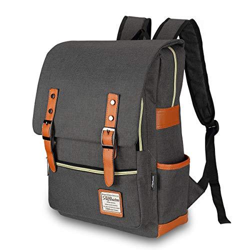 Alfheim Laptop Rugzak, 15,6 inch Laptop Canvas Dubbele Schoudertassen, Waterbestendig & Grote capaciteit, geschikt voor Student & Business & Travel, Grijs