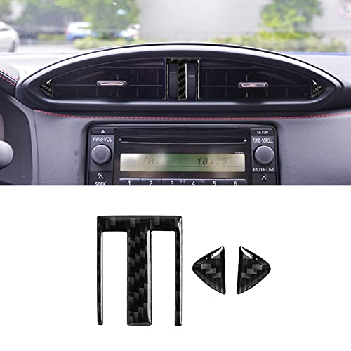 YAMUDA Compatible with Carbon Fiber Car Central Control Air Conditioner Outlet Decorative Sticker Interior Accessories for Subaru BRZ Toyota 86 2016 2017 2018 2019 2020 (3PCS Black)