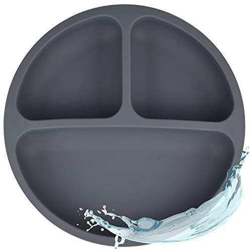 Silikon Teller für Babys und Kinder | Babygeschirr, Rutschfest, BPA-frei, Wasserdicht, Abwaschbar & leicht zu reinigen | Silikonteller Dark Grey für Junge/Mädchen (Grau, Anthrazit)