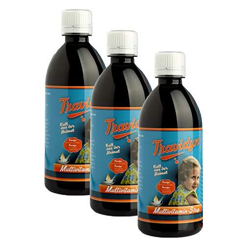 TRAVIDYN - 500 ml Ayurvital Multivitaminsirup | Vitaminsaft für Kinder ab einem Jahr und Erwachsene im 3er Pack