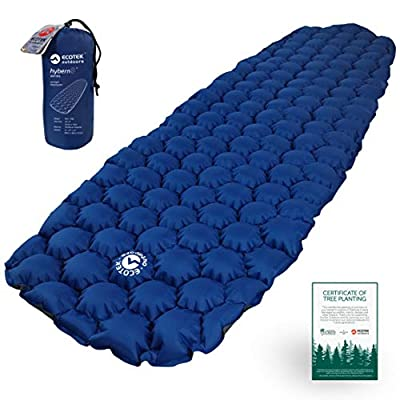 ECOTEK Outdoors Hybern8 Ultralight Inflatable Sleeping Pad with Contoured FlexCell Honeycomb Design - Easy to Inflate, Comfortable, Lightweight, Durable, and Hammock Approved [Ocean Blue]