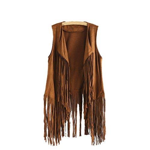 Bekleidung Longra Damen Herbst Winter Faux Wildleder Ethnische ärmellose Quasten Fransen Weste Strickjacke (XL, Khaki)
