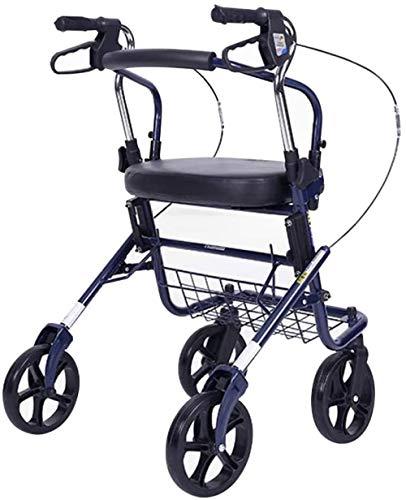 Gehhilfe Schwerlast Transport Rollstuhl Höhenverstellbar Transportstühle Leicht Faltbarer Rollator Rollator Rollator mit Sitzkorb für Behinderte Behinderte Blau