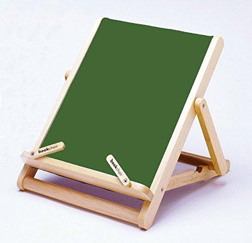 Bookchair Standard Grün - Buchständer Tablethalter aus Holz: Leseständer mit Stoffbespannung (Auflagefläche 27 x 23 x 3 cm)