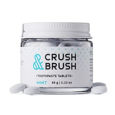 Crush & Brush Toothpaste Tablets- Mint GLASS JAR - 60g ~ 80 Tablets
