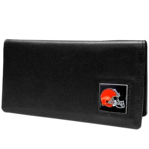 NFL Siskiyou Sports Fan Shop Cleveland Browns Leather Checkbook Cover One Size Black