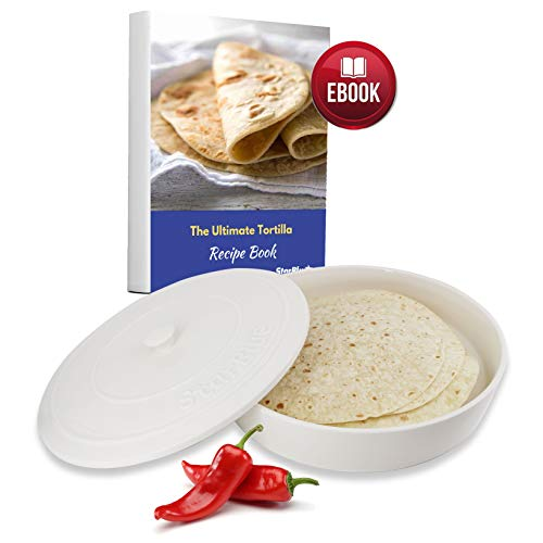 10 Inches Ceramic Tortilla Warmer by StarBlue with FREE Recipes ebook - White, Insulated One Hour and Holds up to 24 Tortillas ,Chapati, Roti, Microwavable, Oven Safe