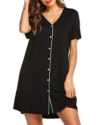 Tunika Pyjama Kleid Oberteil Nachthemd Jersey Schlafshirt Knopfleiste Schlafanzug Frauen Nachtwäsche Sommer Negligee KlassischeSchwarz