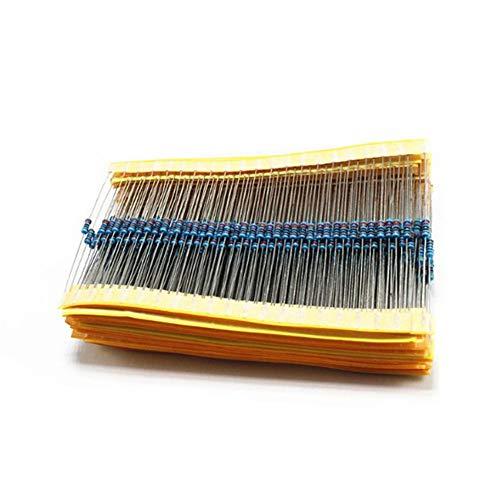 Fleymu 17 Valores 1 / 4W Resistencia Metálica Precisión Película Surtido Película 1% Variedad Metal Conjunto de Resistores con Caja Plástico para Proyectos y Experimentos de Bricolaje (Paquete