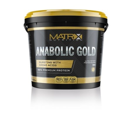 Matrix Nutrition Anabolic Gold 86% Protein Powder | Whey Protein Concentrate Complex | Low Sugar Lean Muscle Building Training Shake (Strawberry, 5KG)