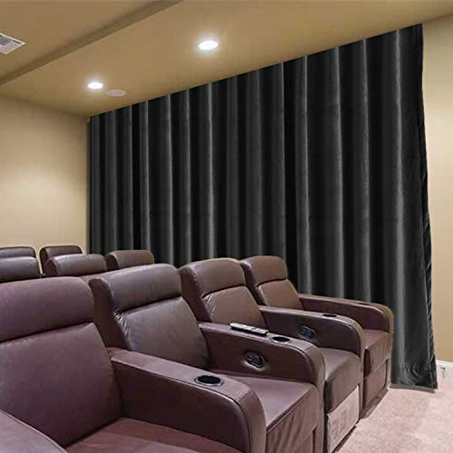 Frelement Movie Theater Curtains Velvet Privacy Flat Hooks Drapes with Blackout Lining for Theater Room, Movie Room, Stage, Villa, 100W x 96L Inches, Warm Black, 1 Panel