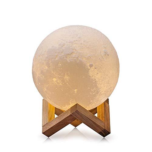 Mond Lampe Nachtlampe,3D Mond Lampe Nachtlicht LED Nacht Tischlampe Kinderzimmerlampe, Moderne Skulptur 3D-Druck aus PLA Aufladbar Nightlight Geschenk für Freund Weihnachten Geburtstag (10cm/3.94in)