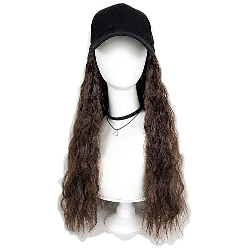 20 Pouces Baseball Cap Noir Chapeau Gower avec Brown Wavy perruque de cheveux, haute température fibre classique Fashion Daily Casual for les filles de femmes