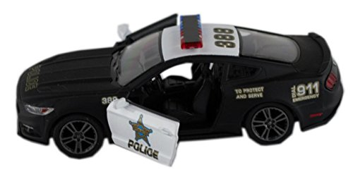 Kinsmart 2015 Ford Mustang Gt Black & White State Police Squad Car 1/36 Scale Diecast Interceptor