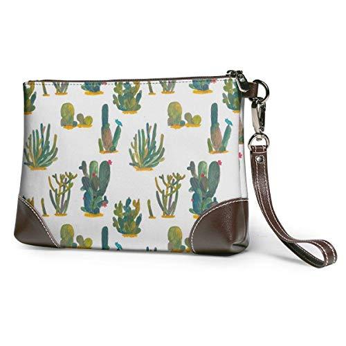 GLGFashion Leder Clutch Handtasche Geldbörse Brieftasche Women's Leather Wristlet Clutch Wallet Cactus Storage Purse With Strap Zipper Pouch