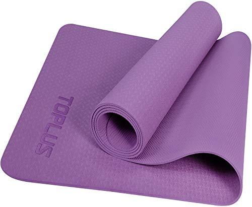 TOPLUS Esterilla de yoga y gimnasia, con correa de transporte, antideslizante, buena para principiantes, para fitness, pilates y gimnasia, 183 x 61 x 0,4 cm