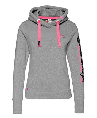 M.Conte Rachel Kapuzenpullover für Damen Hooded Sweater Sweat-Shirt-Jacke S M L XL Weiss Blau Grau Schwarz Pink Mit Kapuze XL Grau Melange
