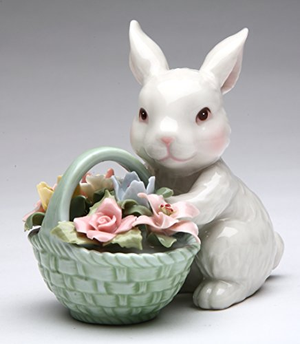 Cosmos Gifts 10592 Fine Porcelain White Bunny Rabbit with Rose Flower Basket Figurine, 3-5/8' H
