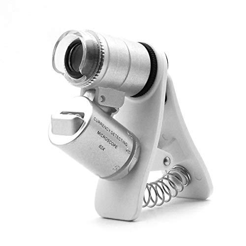 QiCheng&LYS Lupa para microscopio con Zoom 60x, Lupa para Monedas, LED + luz Ultravioleta con Clip Lente Micro para teléfonos, Microscopio para movil, Lupa pequeña
