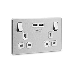 2 gang switched socket with outboard rockers 2 x Type A USB sockets - 3.1A total output, 5V Ideal for charging iPad, iPhone, tablets, mobiles, cameras and more Manufactured to BS 5733 and BS EN 60930