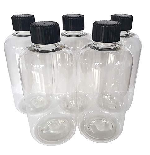 reciclables 5 botellas de pl/ástico de 500 ml con dispensador de loci/ón negra y dispensador de bomba de loci/ón LUCEMILL