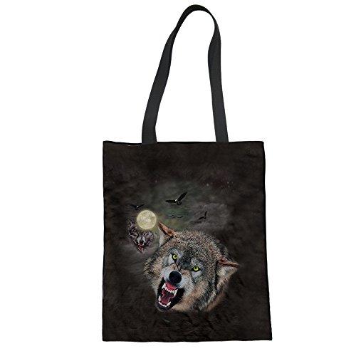 Schwarze Einkaufstasche Canvas Einkaufstaschen Umhängetaschen Wolf Große Kapazität zum Wandern