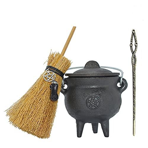 Kit de altar: caldero de hierro fundido con pentagrama (9,4 cm de diámetro), varita y escoba de Wicca, ideal para manchas, quema de incienso, propósito ritual, decoración, decoración de Hallow