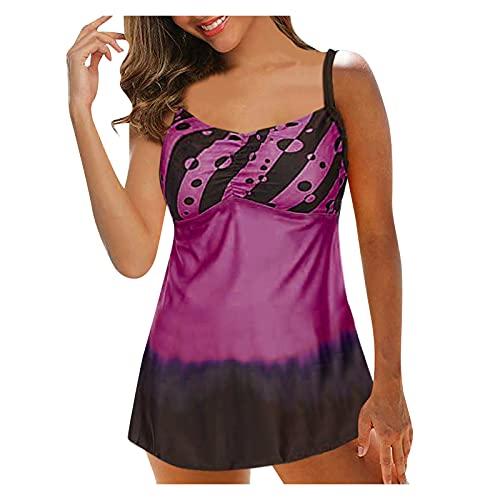 Tankini de dos piezas para mujer, estampado para el vientre, corte para la playa, bañador con pantalones cortos, volantes, tallas grandes (lila, XL)