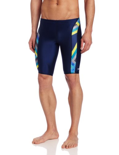 Speedo Men's Laser Stripe Jammer Swimsuit, Blue, 28