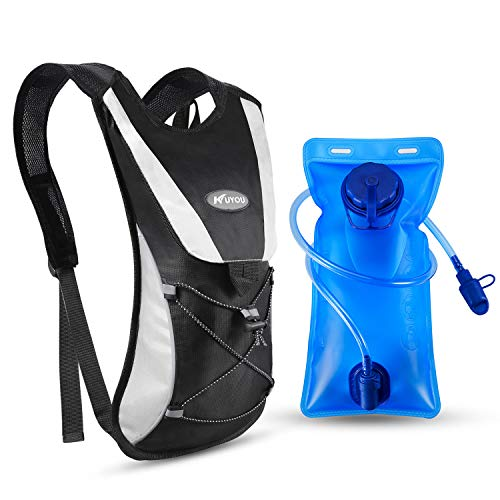 Kuyou Professional Hydration Backpack, Water Bag Backpack with 2L Hydration Pack Water Bladder Perfect for Hiking Backpack Cycling Rucksack Climbing Camping Running Bags (Black)