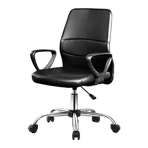 DJDLLZY Ufficio sedie in Pelle PU Home Office Desk Sedie Mid-Back Office Computer Scrivania Sedia con braccioli - Nero