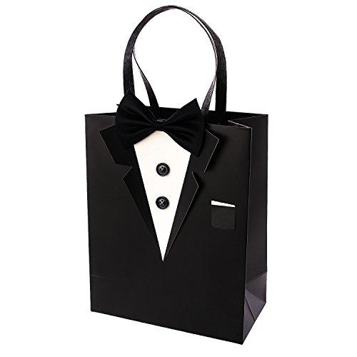 Crisky Classic Black Tuxedo Gift Bags for Groomsman Fathers Birthday Anniversary Wedding Favor Bags 10x8x4 set of 6